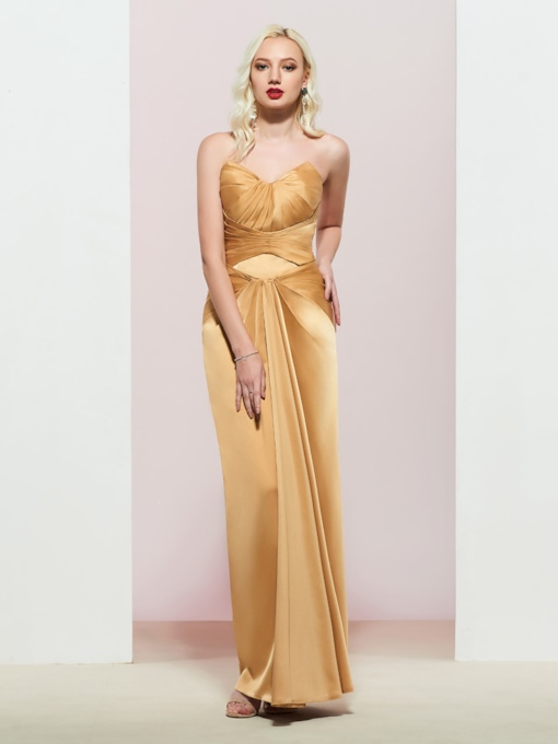 Sweetheart Sleeveless Sheath Pleats Evening Dress 2019
