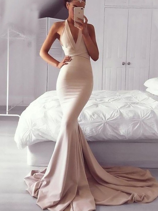 Hollow Trumpet/Mermaid V-Neck Floor-Length Evening Dress