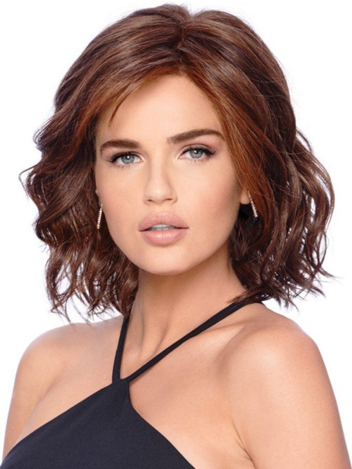 Middle Length Loose Deep Wave Side Swept Synthetic Hair Capless Wigs 14Inches