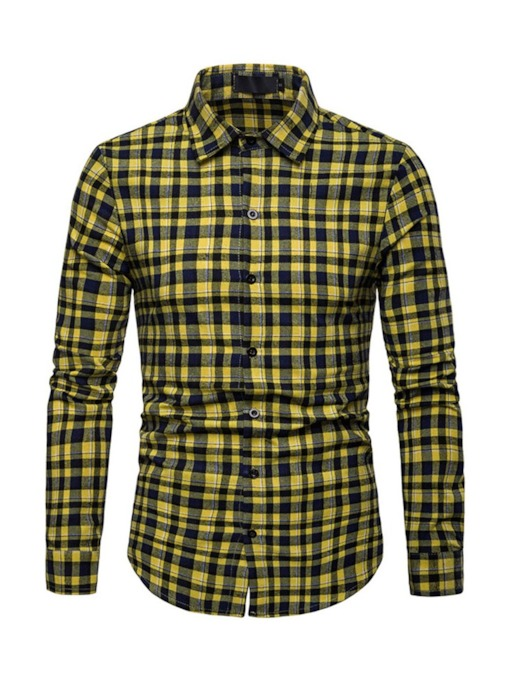 Lapel Plaid Casual Single-Breasted Slim Men's Shirt