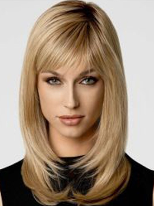 Stylish Bob Top Quality Natural Straight Medium Synthetic Hair Capless Wigs 14 Inches
