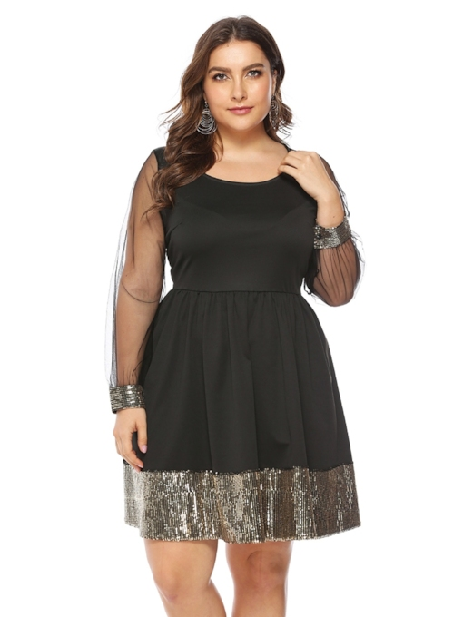 col rond en maille manches longues robe mi-longue taille femme