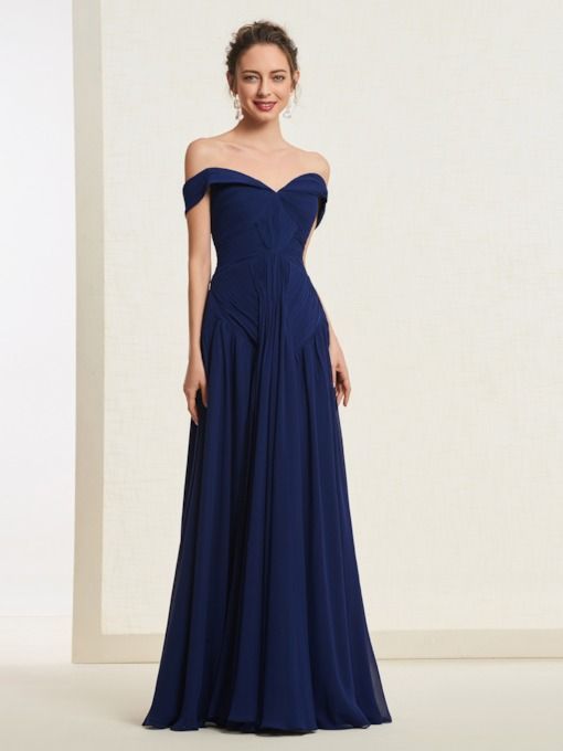 Floor-Length Short Sleeves Pleats Off-The-Shoulder Evening Dress