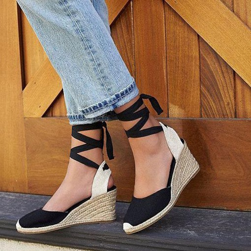 Lace-Up Wedge Heel Closed Toe Vintage Espadrille Sandals