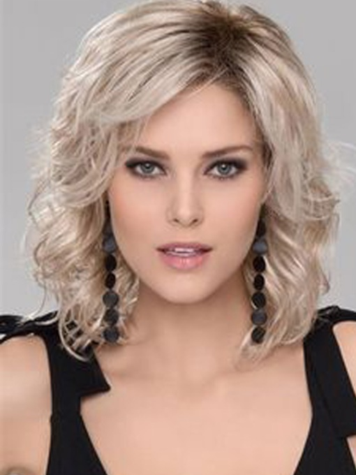 Stylish Medium Big Curly Layered Synthetic Hair Capless Wig 14 Inches