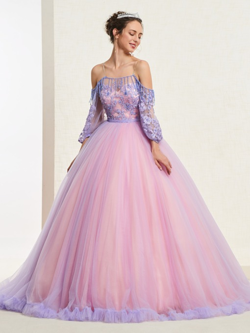 bf1a35df02c Beading Floor-Length Ball Gown Half Sleeves Quinceanera Dress 2019
