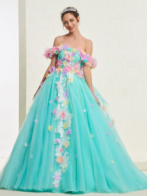 7b6480d5f4e6 Ball Gown Flowers Floor-Length Off-The-Shoulder Quinceanera Dress 2019