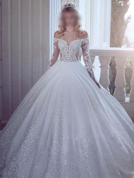 Long Sleeves Appliques Sequins Ball Gown Wedding Dress