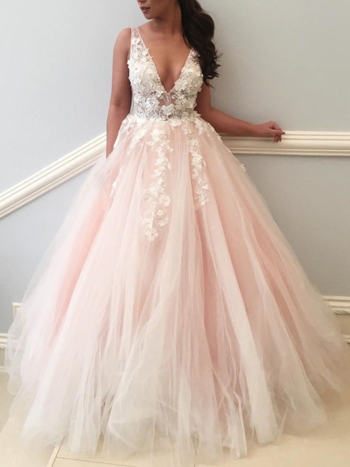 Appliques Ball Gown 3D Flowers Pink Wedding Dress