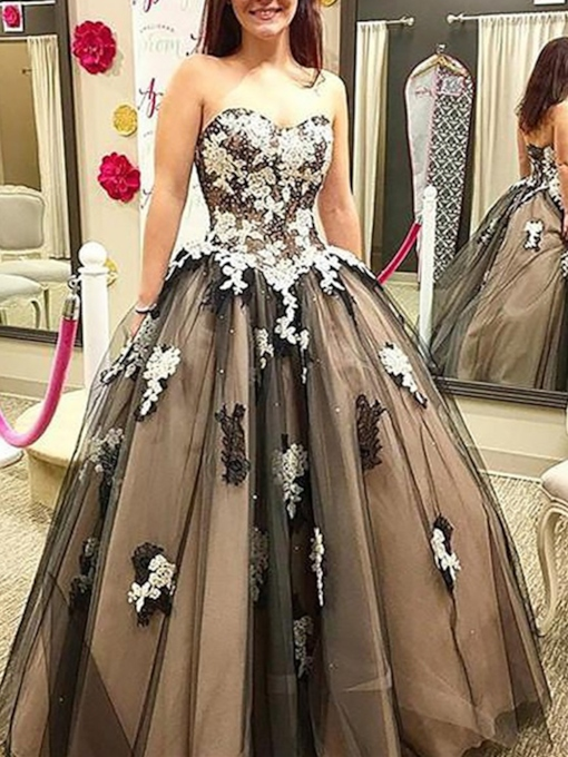 Sleeveless Ball Gown Lace Floor-Length Quinceanera Dress