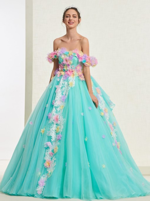 Ball Gown Flowers Off-The-Shoulder Quinceanera Dress 2019