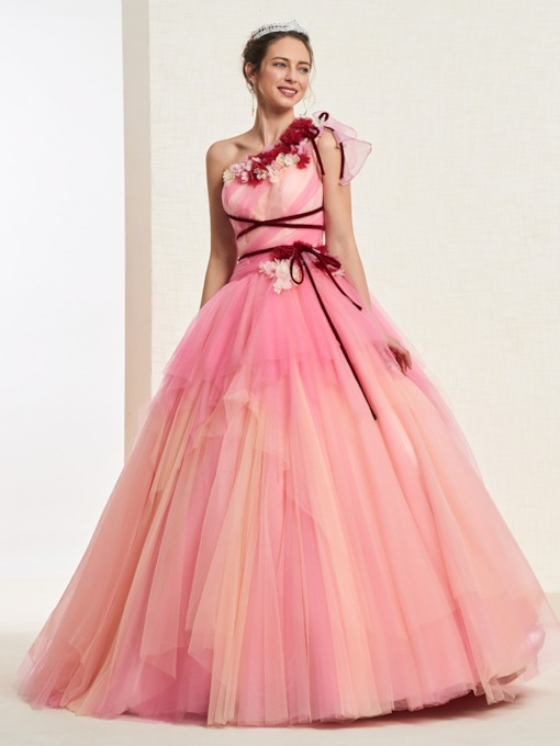 One Shoulder Ball Gown Flowers Quinceanera Dress 2019