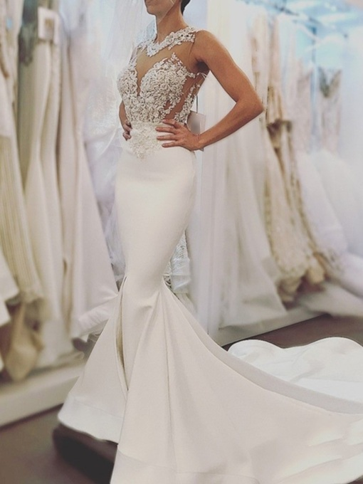 Appliques Mermaid Backless Wedding Dress 2019