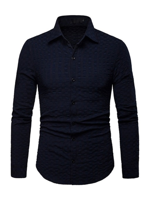 Casual Lapel Plain Men's Shirt
