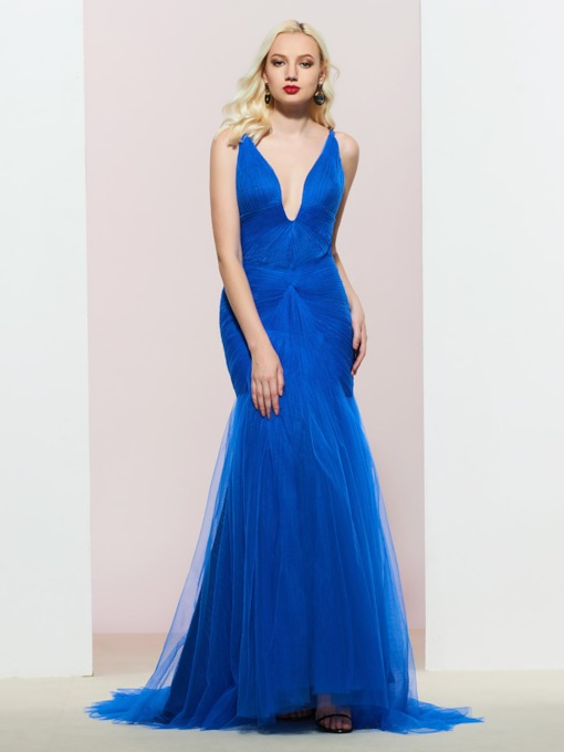 V-Neck Floor-Length Pleats Sleeveless Evening Dress