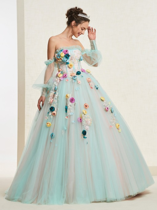 Ball Gown Long Sleeves Flowers Off-The-Shoulder Quinceanera Dress