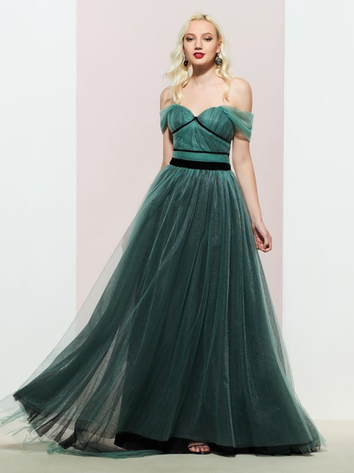 Off the Shoulder Pleats Prom Dress 2019