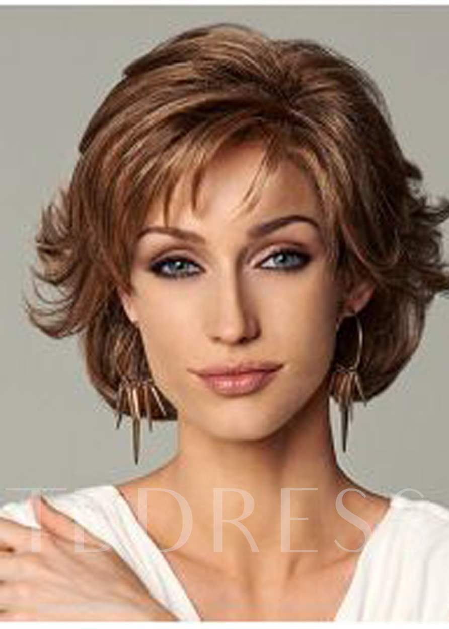 Layered Medium Length Loose Wave Synthetic Hair Capless Wigs 12 Inches