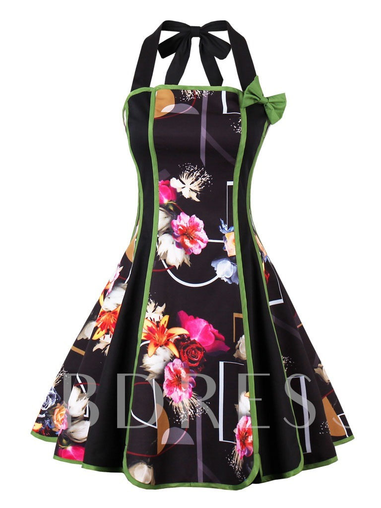 Knee-Length Multi Color Halter A-Line Cocktail Dress