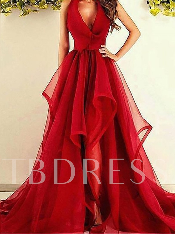 Halter V-Neck Tiered Red Prom Dress 2019