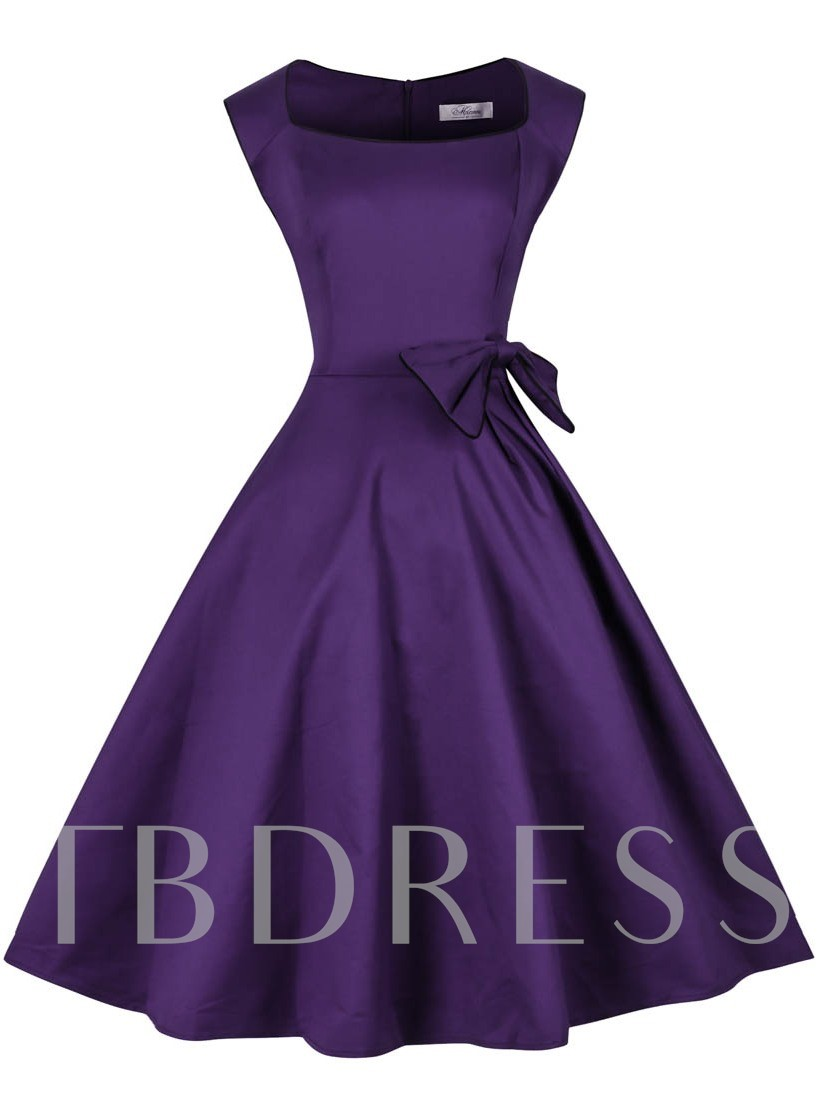 Square A-Line Knee-Length Purple Cocktail Dress 2019