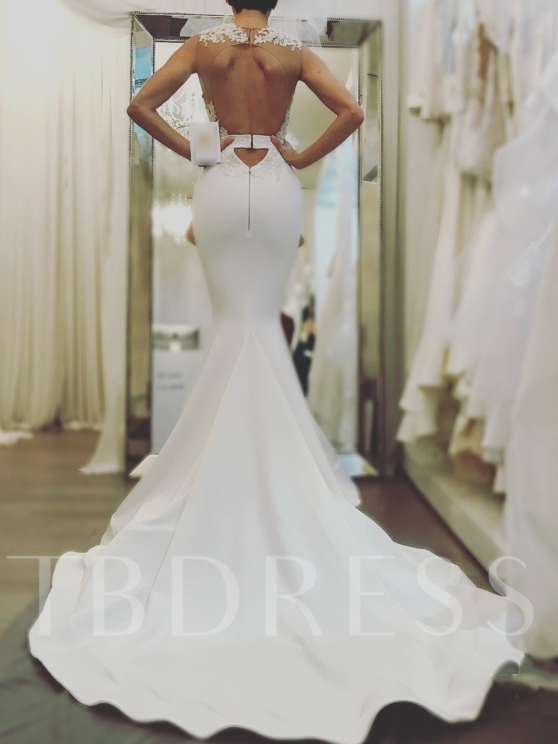 Appliques Mermaid Backless Wedding Dress