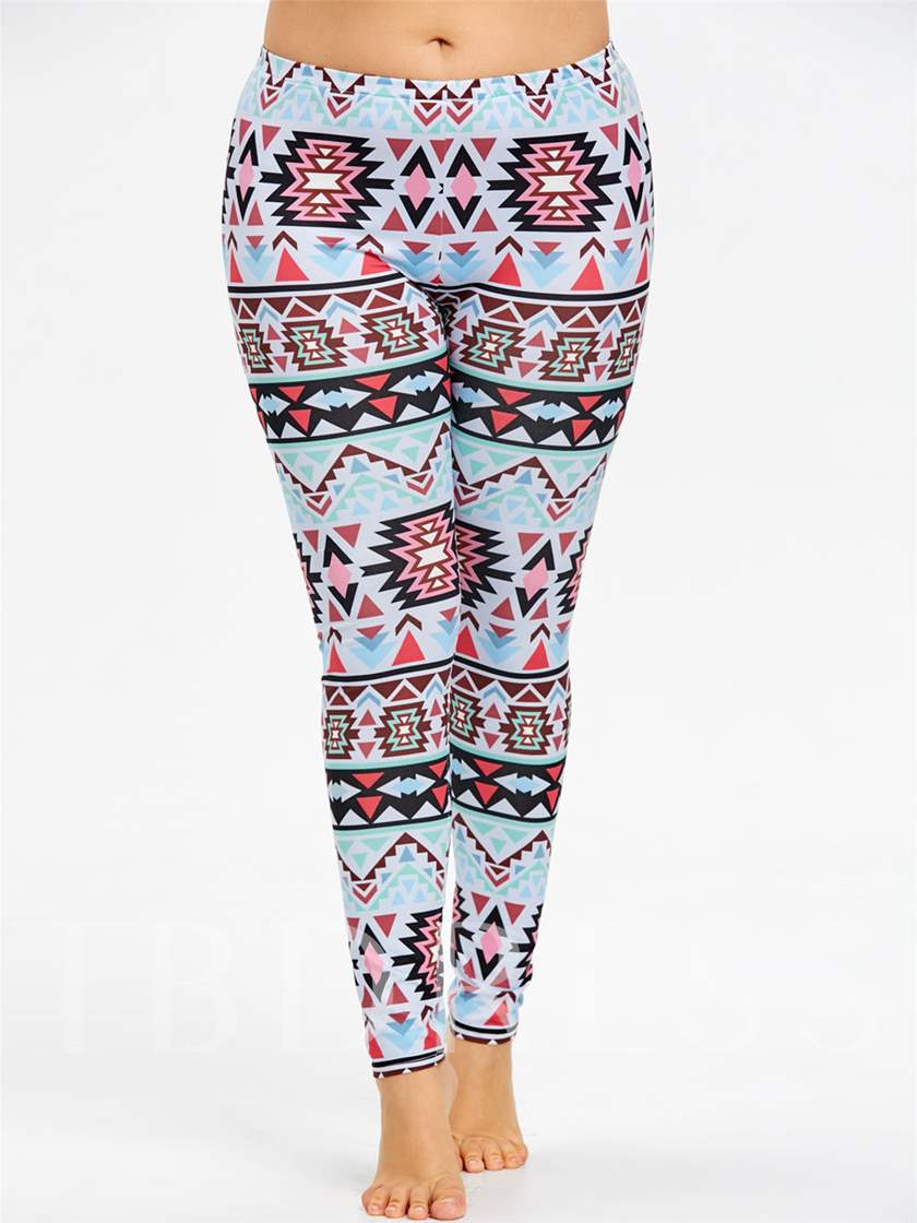 Color Block Print Plus Size High-Waist Women's Leggings