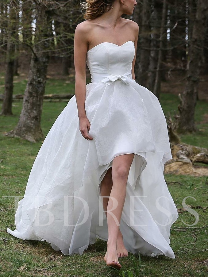 Sweetheart Bowknot High Low Beach Wedding Dress