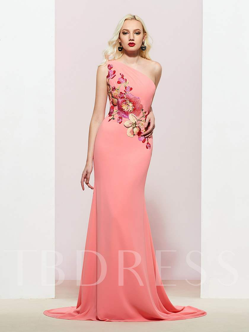 Embroidery One Shoulder Floor-Length Mermaid Evening Dress