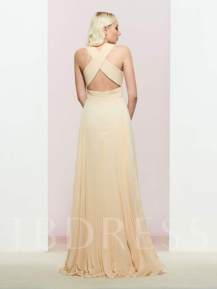 Criss-Cross Straps Pleats Bridesmaid Dress