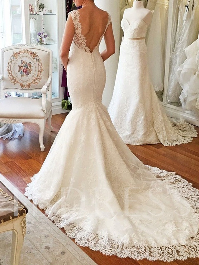Cap Sleeve V Neck Mermaid Lace Wedding Dress 2019 Tbdress