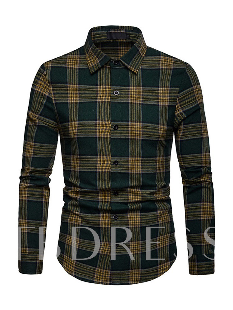 Lapel Plaid Casual Single-Breasted Men's Shirt