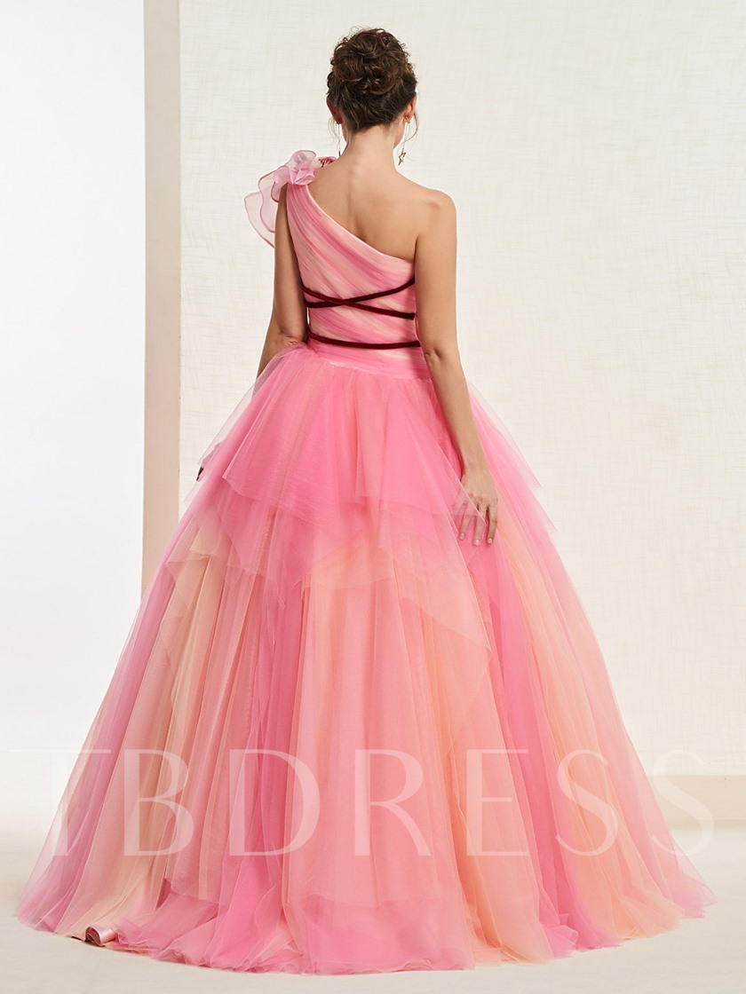 One Shoulder Floor-Length Ball Gown Pleats Quinceanera Dress 2019