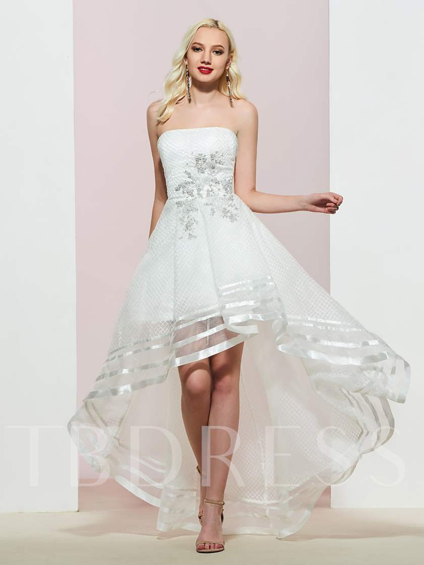 Strapless A-Line Appliques High Low Prom Dress