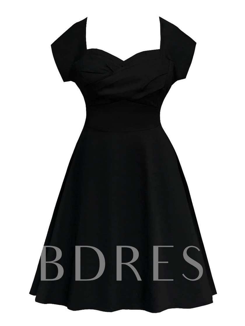 Knee-Length Cap Sleeves Black A-Line Cocktail Dress