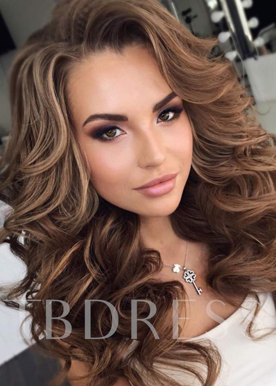 Super Long Curly Layered Hairstyle with Full Fringe Synthetic Capless Women Wigs 24 Inches