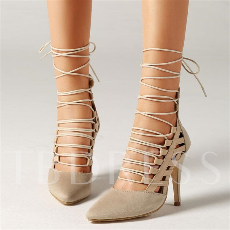Zipper Cross Strap Pointed Toe Stiletto Heel Sexy Women's Pumps