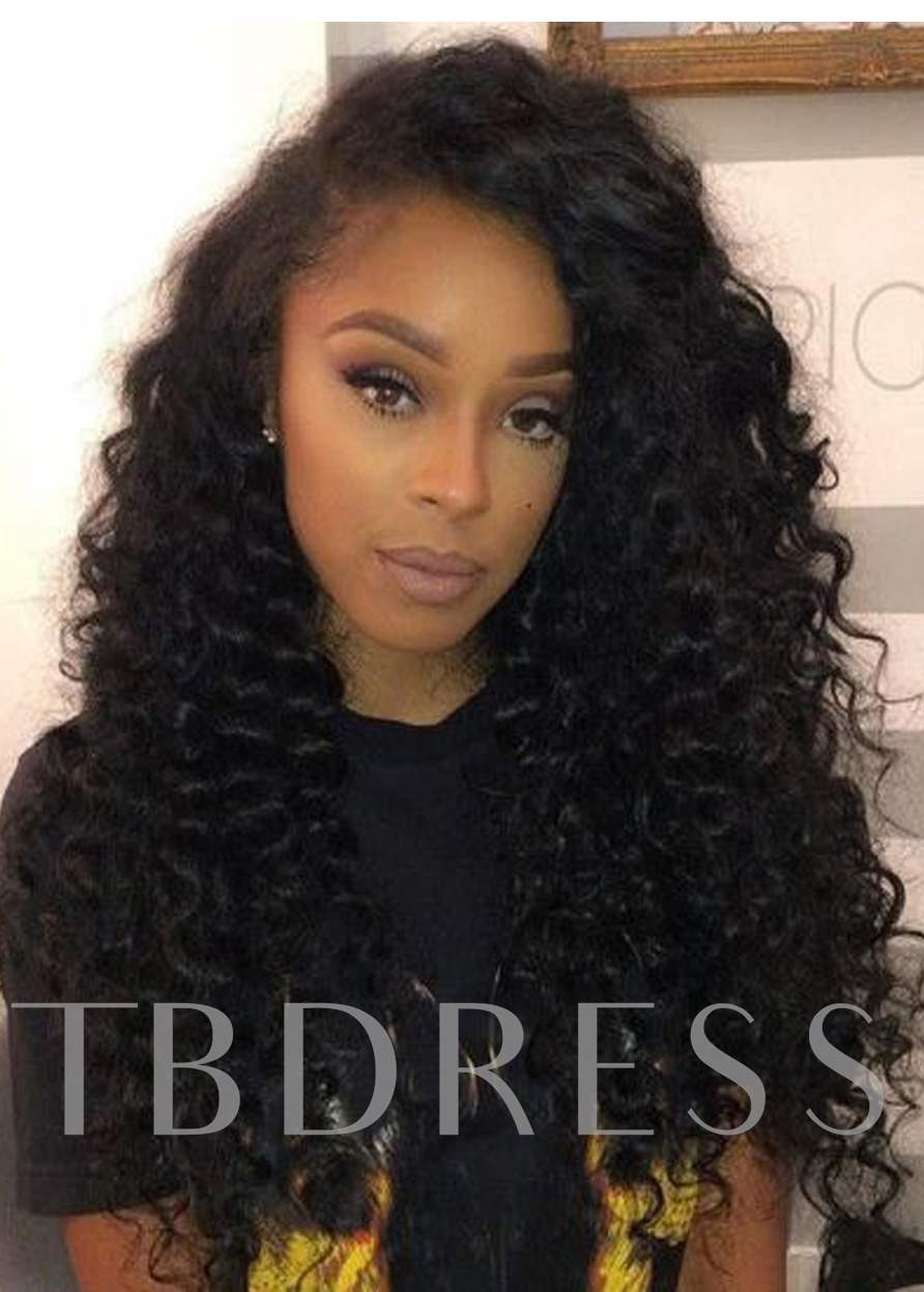 Kinky Curly Medium Length Synthetic Capless Hair African American For Black Women Wig