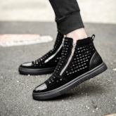 Side Zipper Round Toe Rivet Ankle Boots