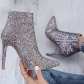 Side Zipper Pointed Toe Stiletto Heel Sequin Glitter Chic Ankle Boots
