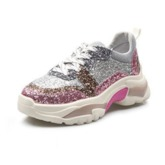 Glitter Sequin Lace-Up Low-Cut Upper Round Toe Women's Sneakers