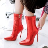 Stiletto Heel Pointed Toe Side Zipper Short Floss Metallic Ankle Boots