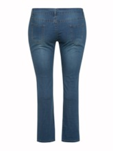 Plus Size Plain Hole High-Waist Women's Jeans