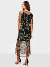 Mesh Round Neck Half Sleeve Embroidery Women's Maxi Dress