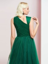 Straps Pleats Dark Green Evening Dress
