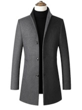 Stand Collar Plain Mid-Length Casual Men's Wool-Blend Coat