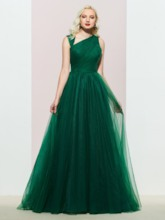 Floor-Length Sleeveless Sweep Train A-Line Evening Dress