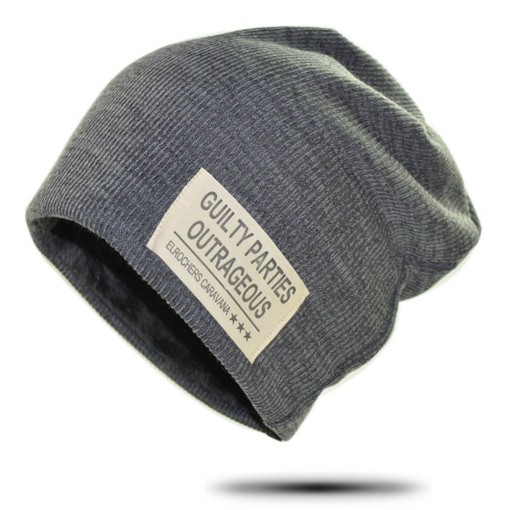 Cotton Appliques Letter Skullies & Beanies for Men