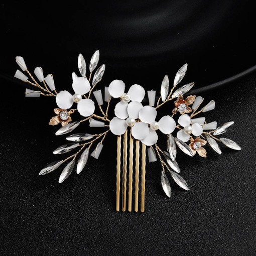 White Leaf Shape Pearl Decorated Handmade Wedding Hair Comb