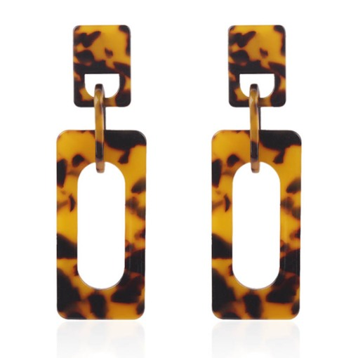 Square Shape Acetate Plate Party Tortoise Earrings